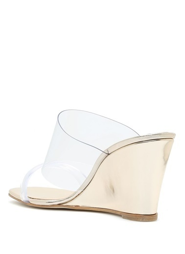 Belle Epoque Dolgu Topuklu Sandalet Altın